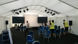 Presentation setup with spot-lights and large screen TVs