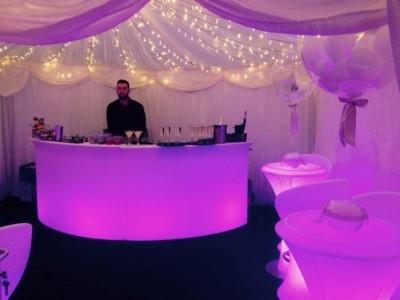 LED circle bar lit up in pink