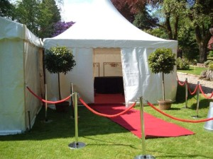 Pagoda marquee set up as a welcome area