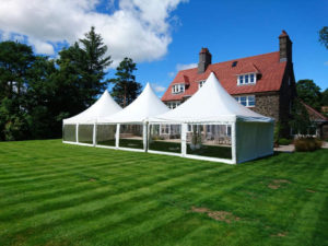 3 pagoda marquees in garden