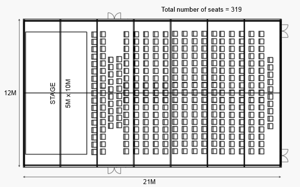 Theatre set-upClearspan marquee example layout #5